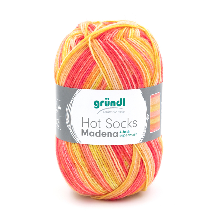 3509-06 Hot Socks Madeira, 4-draads 10x100 gram sunrise
