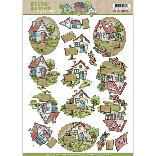 CD10872 3D Knipvel - Yvonne Creations - Moving Madness - Houses