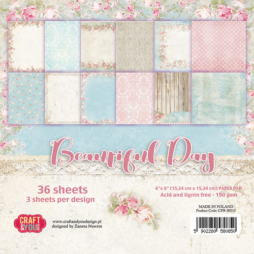 CPB-BD15 BEAUTIFUL DAY Small Paper Pad 6x6, 36 sheets (190gsm)