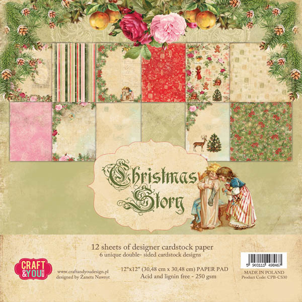 CPB-CS30 CHRISTMAS STORY Paper Set 12x12, 12 sheets, ( 200 gsm )