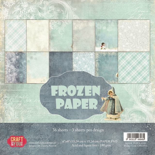 CPB-FP15 FROZEN PAPER Small Paper Pad 6x6, 36 sheets (190gsm)