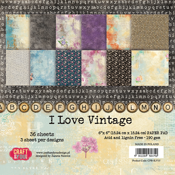 CPB-ILV15 I LOVE VINTAGE Small Paper Pad 6x6, 36 sheets, 190gsm