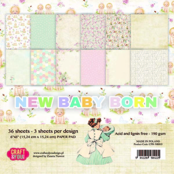 CPB-NBB15 New Baby Born Small Paper Pad 6x6, 36 sheets
