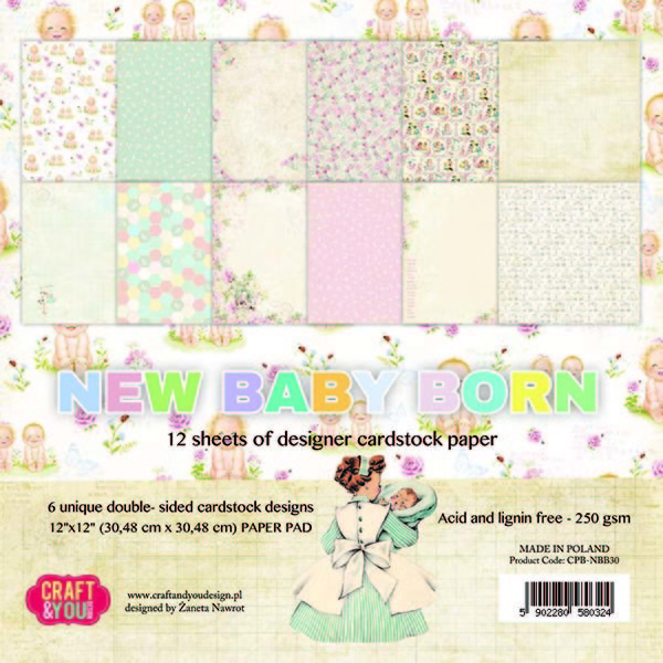 CPB-NBB30 New Baby Born Big Paper Pad 12x12