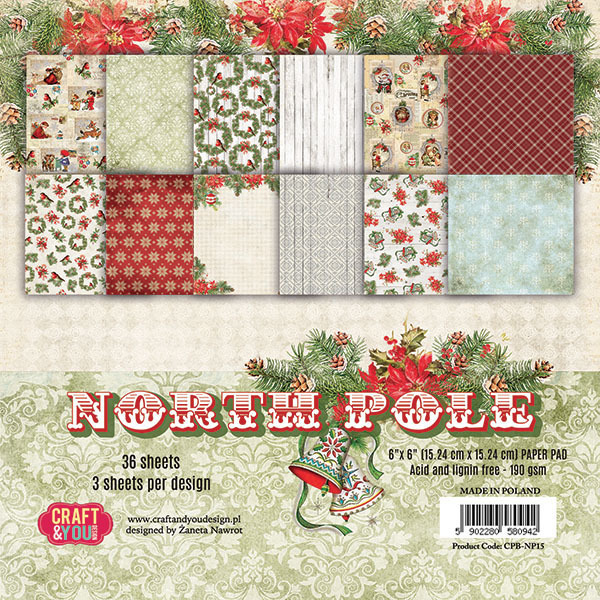 CPB-NP15 NORTH POLE Small Paper Pad 6x6, 36 sheets (190gsm)