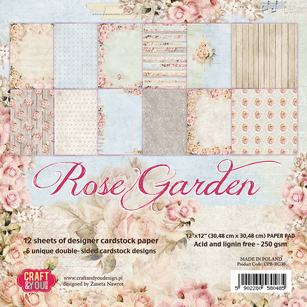 CPB-RG15 ROSE GARDEN Small Paper Pad 6x6, 36 sheets (190gsm)