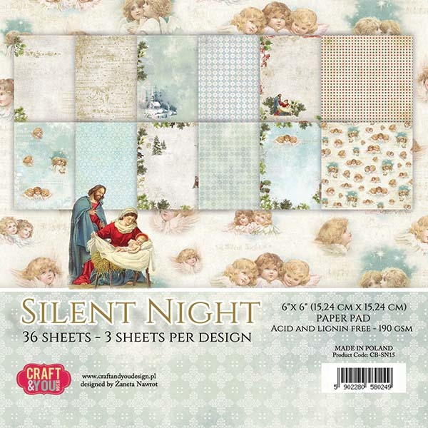 CPB-SN15 SILENT NIGHT Small Paper Pad 6x6, 36 sheets (190gsm)
