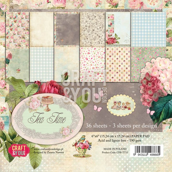 CPB-TT15 Tea Time -paper pad 6x6 36 vel(3x12 design)