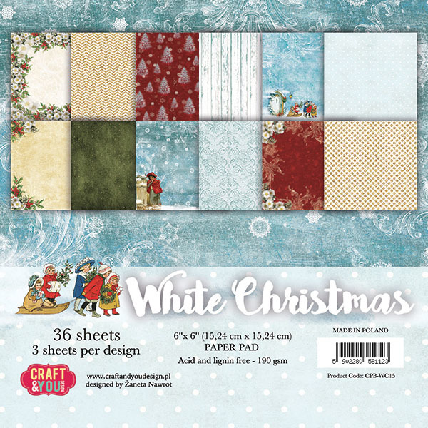 CPB-WC15 WHITE CHRISTMAS Small Paper Pad 6x6, 36 sheets (190gsm)