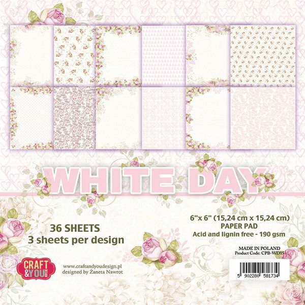 CPB-WD15 WHITE DAY Small Paper Pad 6x6 , 36 sheets, 190gsm