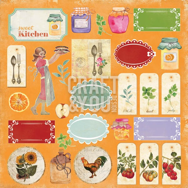 CP-MHG07 My Home Garden 07 Sheet of elements to be cut 12x12 10vel