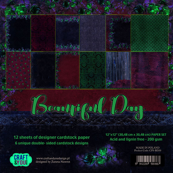 CPS-BD30 BEAUTIFUL DAY Paper Set 12x12, 12 sheets, ( 200 gsm )
