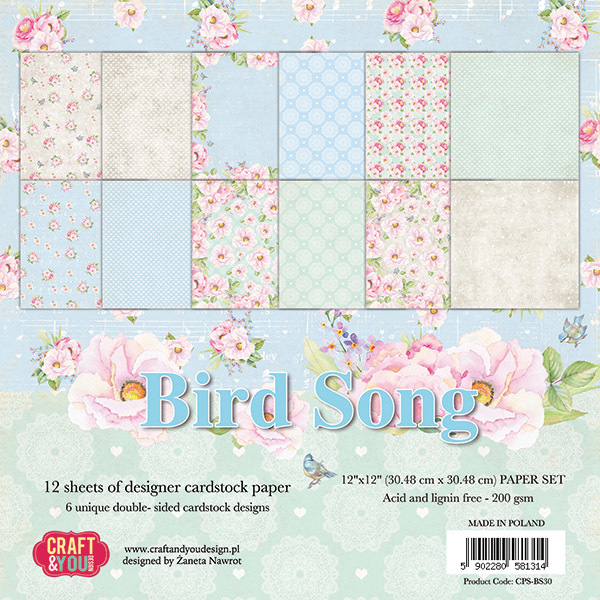 CPS-BS30 BIRD SONG Big Paper Set 12x12, 200 gsm