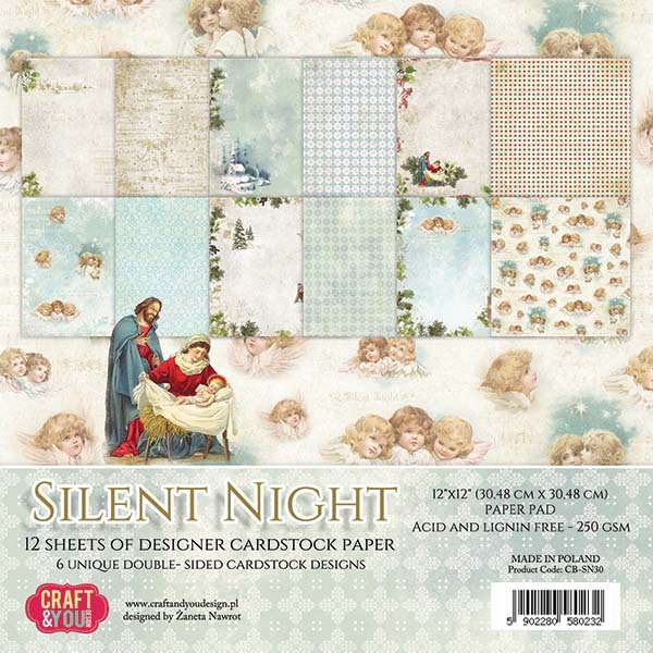 CPS-SN30 SILENT NIGHT Paper Set 12x12, 12 sheets, ( 200 gsm )