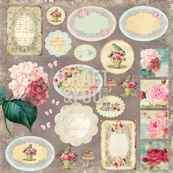 CP-TT07 Tea Time 07 Sheet of elements to be cut 12X 12 10vel