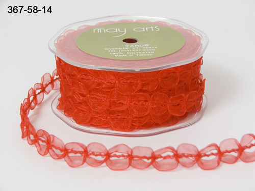367-58-14 Sheer/looped trim 3/8 - 10mm-rol 22,9mtr red
