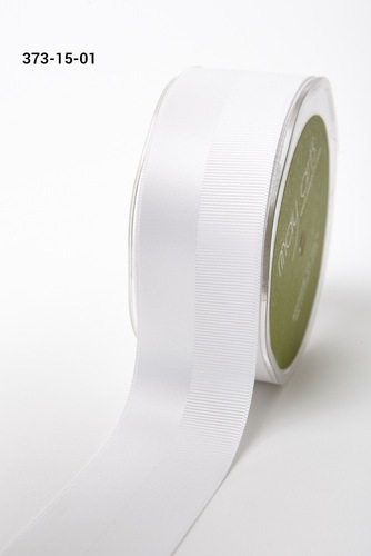 373-15-01 1.5 Satin/Grosgrain Double Band white rol 27,4mtr