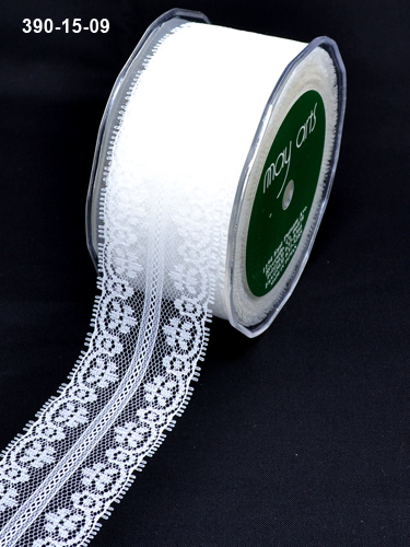 390-15-09 Lace ivory 1,5-38mm rol 27,4mtr