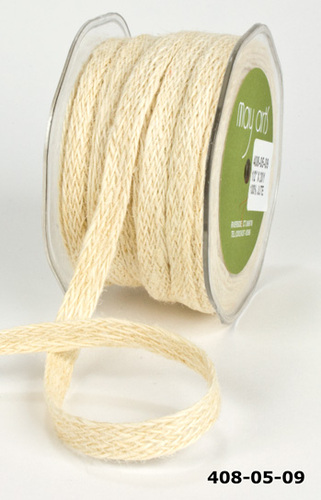408-05-09 Woven Burlap 13mm rol 18,3mtr Ivory