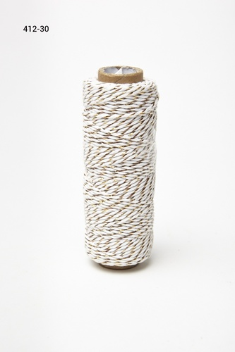 412-30 Baker's Twine 2mm rol 99,7mtr White/Gold
