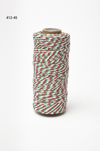 412-45 Baker's Twine 2mm rol 99,7mtr White/Green/Red