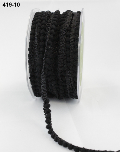 419-10 Mini Pompoms rol 27,3mtr black