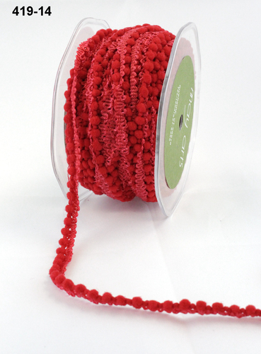 419-14 Mini Pompoms rol 27,3mtr red