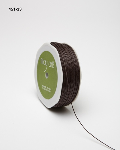 451-33 Brown Waxed Cord 1mm rol 91,4mtr