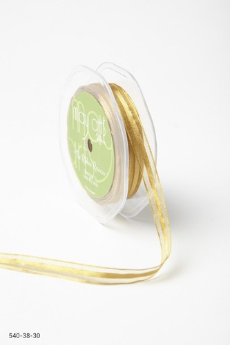 540-38-30 Sheer with Satin Center Ribbon 16mm-rol 22,7mtr 10mm-rol 27,4mtr gold