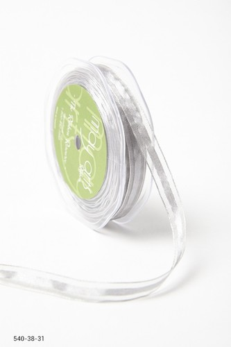 540-38-31 Sheer with Satin Center Ribbon 16mm-rol 22,7mtr 10mm-rol 27,4mtr silver