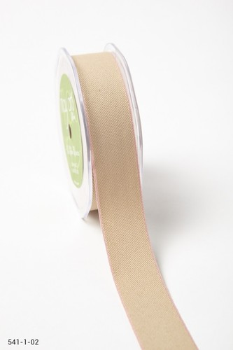541-1-02 Solid Color Edge Ribbon 25mm-rol 9,1mtr natural/pink