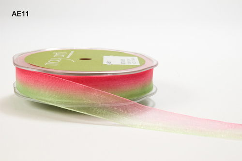 AE-11 Sheer/Ombre nylon edge 5/8-16mm rol 45,8mtr parrood green/watermelon
