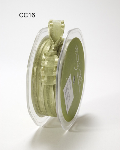 CC-9-16 Sheer Satin Band 1/2-13mm rol 27,4mtr olive