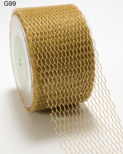 G31-2 G99 Net gold Metallic 50mm rol 27,4mtr