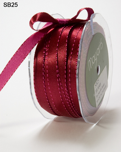 SB-25 Satin/ Reversible/ Stiched Edge 3/8-10mm rol 45,7mtr Burgundy/ Fuchsia