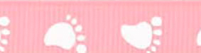 SR1201-02 Ribbon 10mm 20mtr B-02 pink with white baby feet