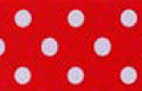SR1203-07 Satin white Polka Dots 38mm 20mtr red/white dots