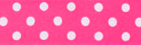 SR1204/7-175 Satin white Polka Dots 7mm 25mtr shocking pink