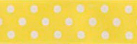 SR1204-01 Satin white Polka Dots 10mm 20mtr yellow