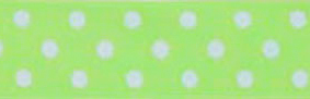 SR1204-02 Satin white Polka Dots 10mm 20mtr light green