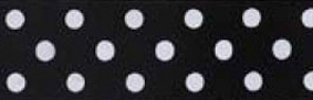 SR1204-14 Satin white Polka Dots 10mm 20mtr black