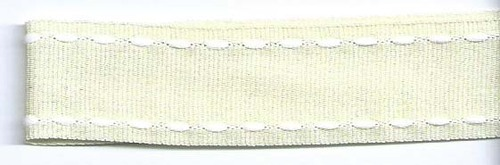 SR1207-03 Ribbon 16mm 20mtr with white stitched end (03) cream