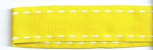 SR1207-04 Ribbon 16mm 20mtr with white stitched end (04) yellow