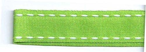 SR1207-05 Ribbon 16mm 20mtr with white stitched end (05) green
