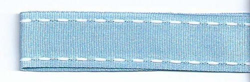 SR1207-06 Ribbon 16mm 20mtr with white stitched end (06) light blue