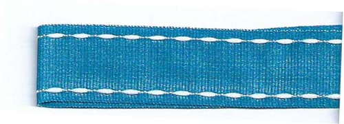 SR1207-07 Ribbon 16mm 20mtr with white stitched end (07) turquoise