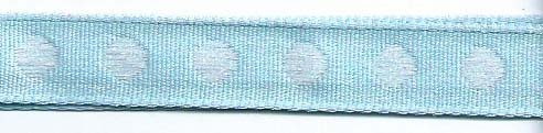 SR1208-02 Ribbon 10mm 20mtr with woven circles (02) light blue/white