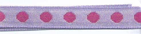 SR1208-04 Ribbon 10mm 20mtr with woven circles (04) lilac/lilac
