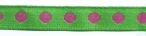 SR1208-05 Ribbon 10mm 20mtr with woven circles (05) green/pink