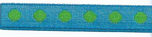 SR1208-06 Ribbon 10mm 20mtr with woven circles (06) turquoise/green